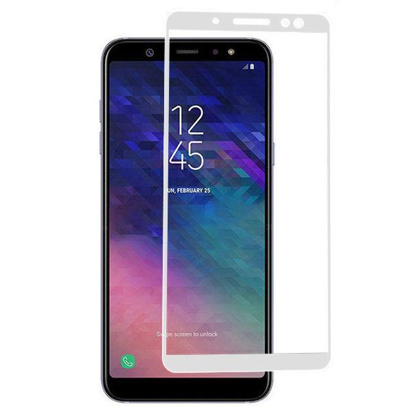 FULL GLUE 3D tvrdené ochranné sklo pre Samsung Galaxy A8 2018 - biele