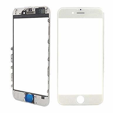 Oleofóbne náhradné biele predné sklo s rámom na iPhone 6 Plus