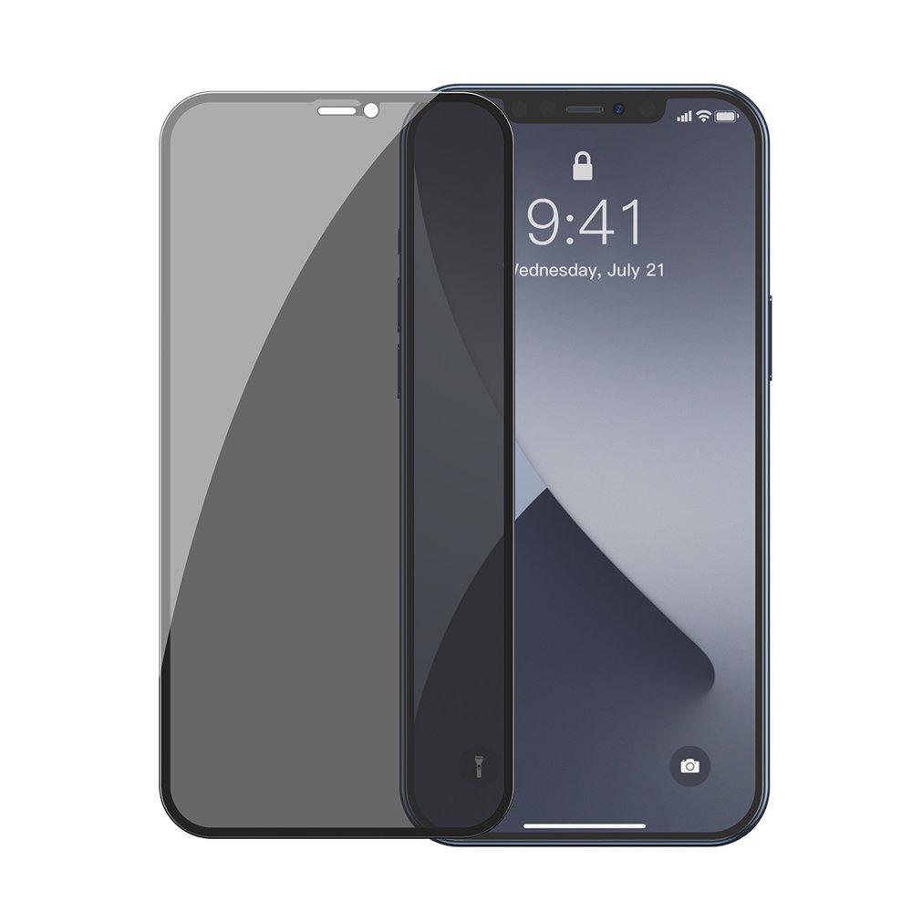 2PACK Baseus Anti-Spy - Ochranné temperované sklo pre Apple iPhone 12/12 Pro - 2ks v balení