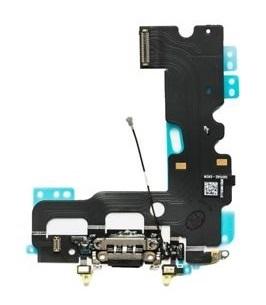 Apple iPhone 7 - Čierny nabíjací konektor + flex kábel s mikrofónom