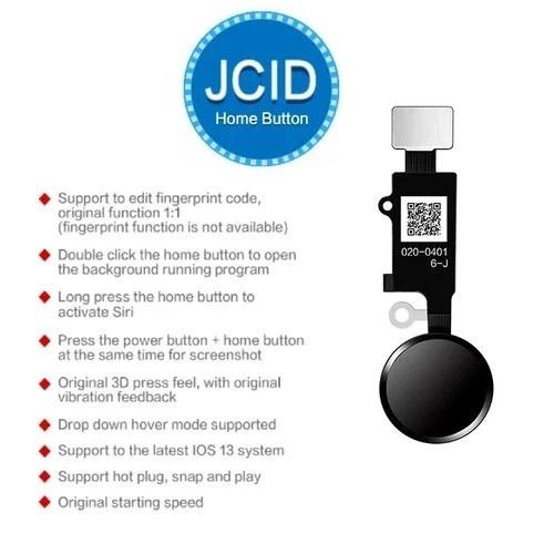 Apple iPhone 7, 7 Plus, 8, 8 Plus - JC 6th gen. 3D Touch - Home button - Tlačidlo domov s funkciou späť (čierna)