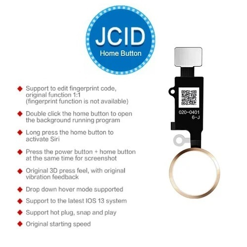 Apple iPhone SE 2020 - Home button - JC 6th gen. 3D Touch - Tlačidlo domov s funkciou späť (zlatá)