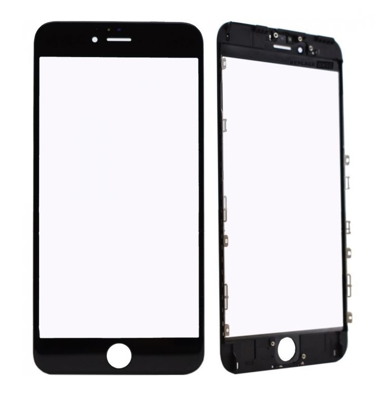 Apple Oleofóbne náhradné čierne predné sklo s rámom na iPhone 6S