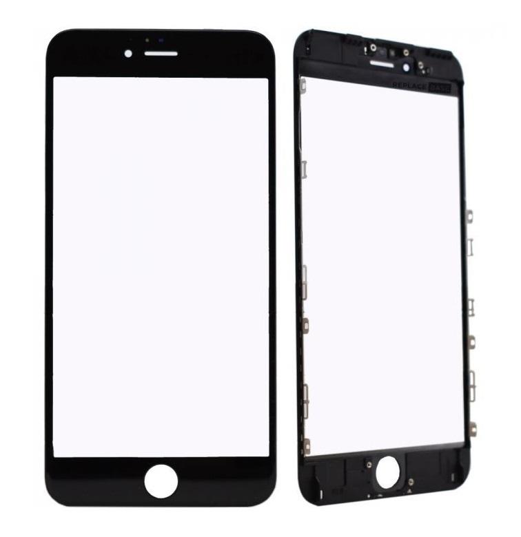 Oleofóbne náhradné čierne predné sklo s rámom na iPhone 6 Plus