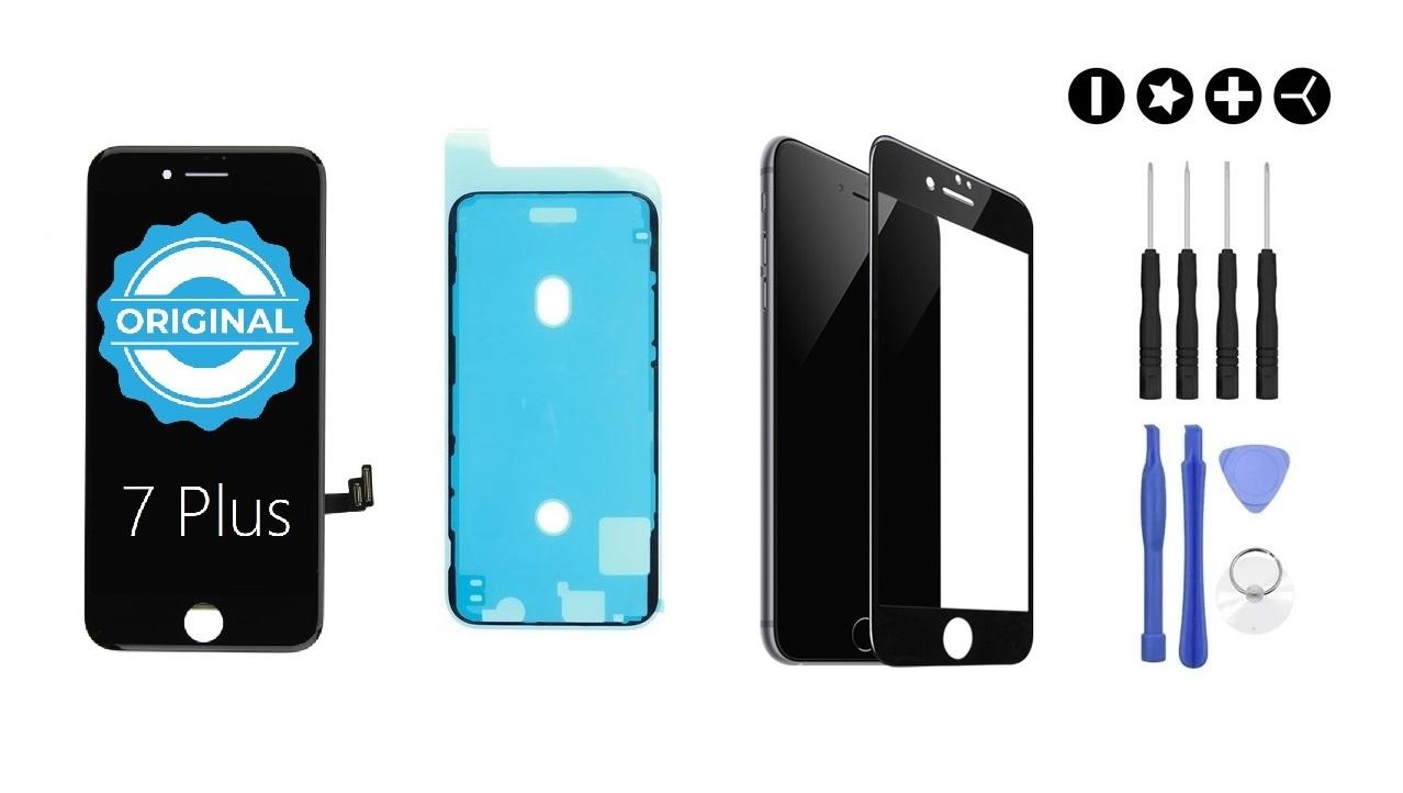 Apple MULTIPACK - ORIGINAL Čierny LCD displej pre iPhone 7 Plus + LCD adhesive (lepka pod displej) + 3D ochranné sklo + sada náradia
