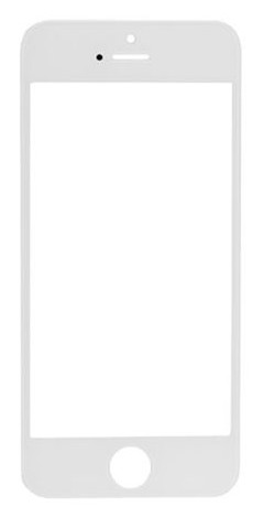 Apple Oleofóbne náhradné biele predné sklo s rámom na iPhone 5S/SE